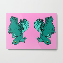 Double bettas in pink and green Metal Print