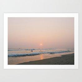 Sunset Surf on Kabalana Beach, Ahangama, Sri Lanka Art Print