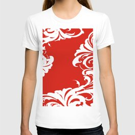 Damask Red and White Holiday Victorian Leaf Pattern T-shirt
