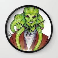kit king Wall Clocks featuring Kit Fisto by lorna-ka