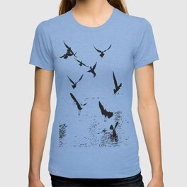 Silhouette Of A Flock Of Seagulls Over Water Vector T-shirt