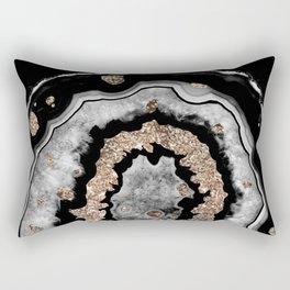 Gray Black White Agate with Gold Glitter on Black #1 #gem #decor #art #society6 Rectangular Pillow
