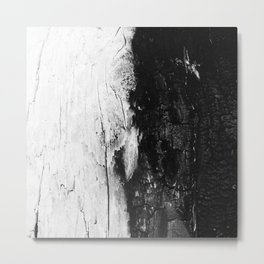 Monochromatic Black and White Wood Bark  - Metal Print