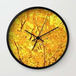 Bright Yellow Fall Maple Leaves I Wall Clock