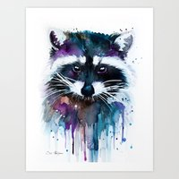 raccoon Art Prints featuring Raccoon by Slaveika Aladjova