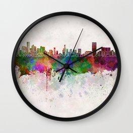 Monterrey skyline in watercolor background Wall Clock