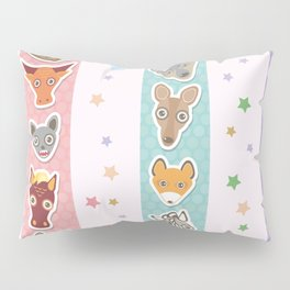 Set of funny animals muzzle seamless pattern with stars, pink lilac blue stripes. Vector Pillow Sham