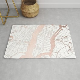 New York City White on Rosegold Street Map Rug