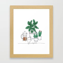 Coffee and Plants Framed Art Print