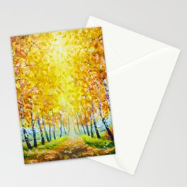 Autumn theme Painting oil - alley of autumn trees  - modern art impressionism abstract landscape art Stationery Cards