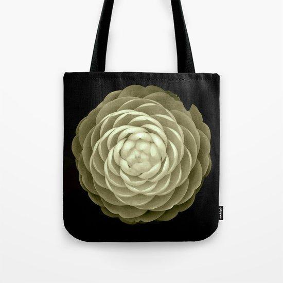 cream camelia on black background Tote Bag