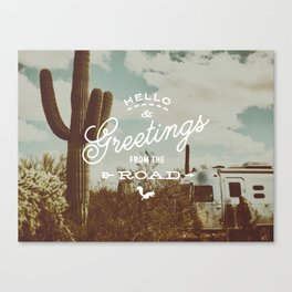 Greetings From The Road (cactus) Canvas Print