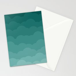 Teal Ombre Clouds Stationery Cards