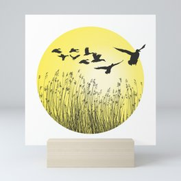 Mallards and reeds in the ring Mini Art Print