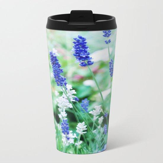 White & Blue Lavender Dream #1 #art #society6 Metal Travel Mug