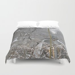 CABS CROSSING THRU CENTRAL PARK ON A SNOWY DAY Duvet Cover