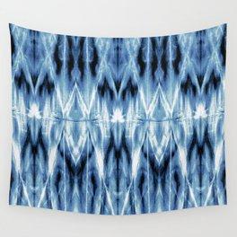 Blue Satin Shibori Argyle Wall Tapestry