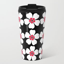 Japanese Sakura Floral Pattern - Black Travel Mug