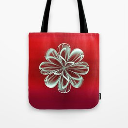 Cyan Bloom on Red Tote Bag