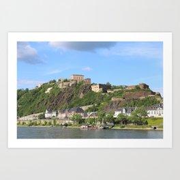 Koblenz mit Festung Ehrenbreitstein Art Print