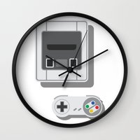 nintendo Wall Clocks featuring Super Nintendo by Di No