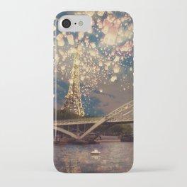 Love Wish Lanterns over Paris iPhone Case