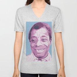 James Baldwin Portrait Blue Purple Unisex V-Neck