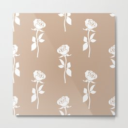White rose seamless pattern isolated on brown background. Abstract flower wallpaper design. Metal Print