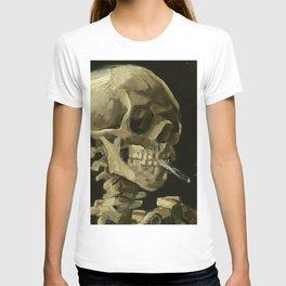 SKULL OF A SKELETON WITH BURNING CIGARETTE - VINCENT VAN GOGH T-Shirt