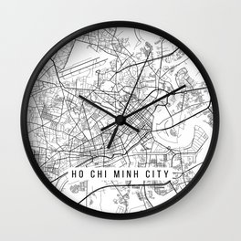 Ho Chi  Minh City Map, Vietnam - Black and White Wall Clock