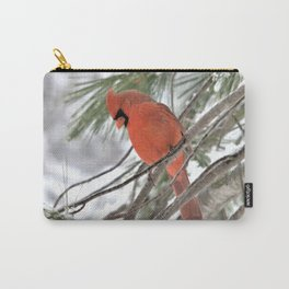 Snow Globe Cardinal (square) Carry-All Pouch