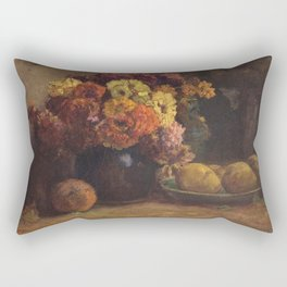 Theodore Clement Steele - Fruit and Flowers. Rectangular Pillow