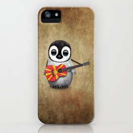 Baby Penguin Playing Macedonian Flag Acoustic Guitar iPhone Case