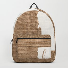 Vermont is Home - White on Burlap Backpack