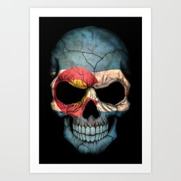 Dark Skull with Flag of Colorado Art Print