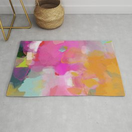 pink sun clouds abstract Rug