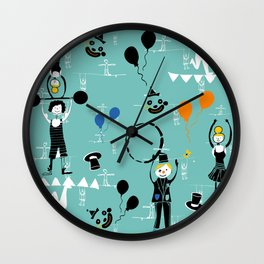 Acrobats blue Wall Clock