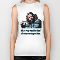 big lebowski Biker Tanks featuring Big Lebowski Quote 3 by Guido prussia