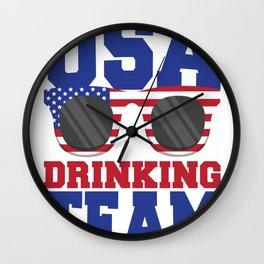 USA Drinking Team Patriotic American Wall Clock