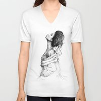 lady V-neck T-shirts featuring Pretty Lady Illustration by Olechka