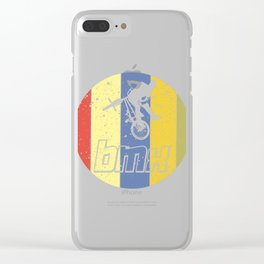 """Cool Biking Tee For Bikers With Unique Awesome Style """"BMX"""" T-shirt Design Upside Down Tricks Clear iPhone Case"""