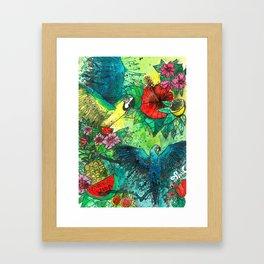 Macaw with watermelom, Viva La Vida Framed Art Print