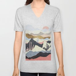 Desert Summer. Vintage nature illustration art. Unisex V-Neck