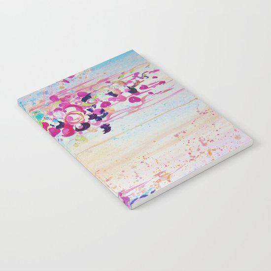 DANCE OF THE SAKURA - Lovely Floral Abstract Japanese Cherry Blossoms Painting, Feminine Peach Blue  Notebook