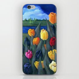 Dutch Tulips, Bright Colorful Flower Painting iPhone Skin