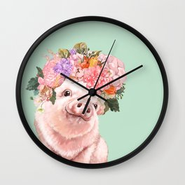 Baby Pig with Flowers Crown in Pastel Green Wall Clock
