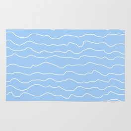 Light Blue (Lighter) with White Squiggly Lines Rug