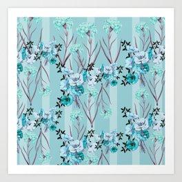 Floral Love X (Blue) Art Print