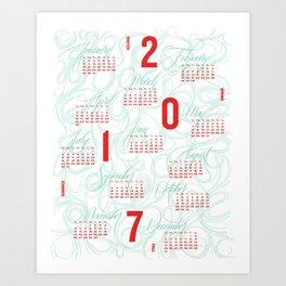2017 Typographic and Lettering Calendar Green/Orange Art Print