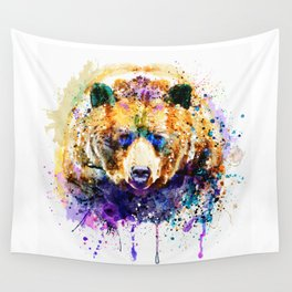 Colorful Grizzly Bear Wall Tapestry